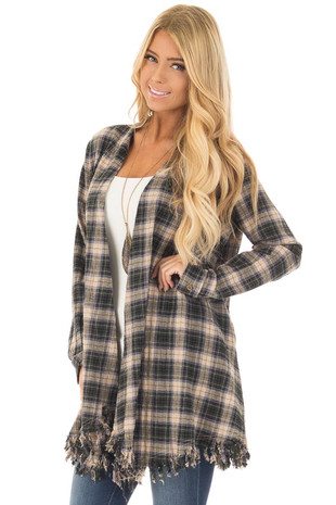 Olive Plaid Long Sleeve Cardigan with Fringe Hemline front close up