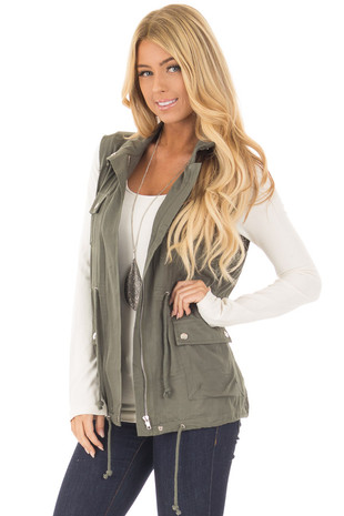 Olive Lightweight Vest with Drawstring Waist front close up