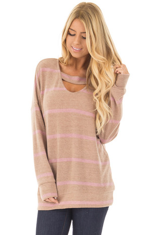 Light Taupe Striped Soft Knit Sweater with Cut Out Neckline front close up