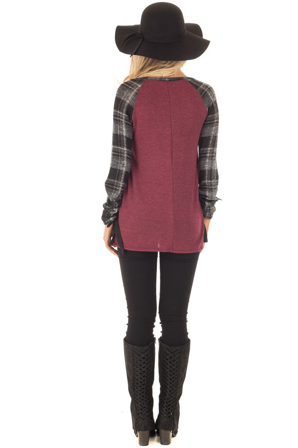 Burgundy Top with Plaid Raglan Sleeves and Tie Detail back full body