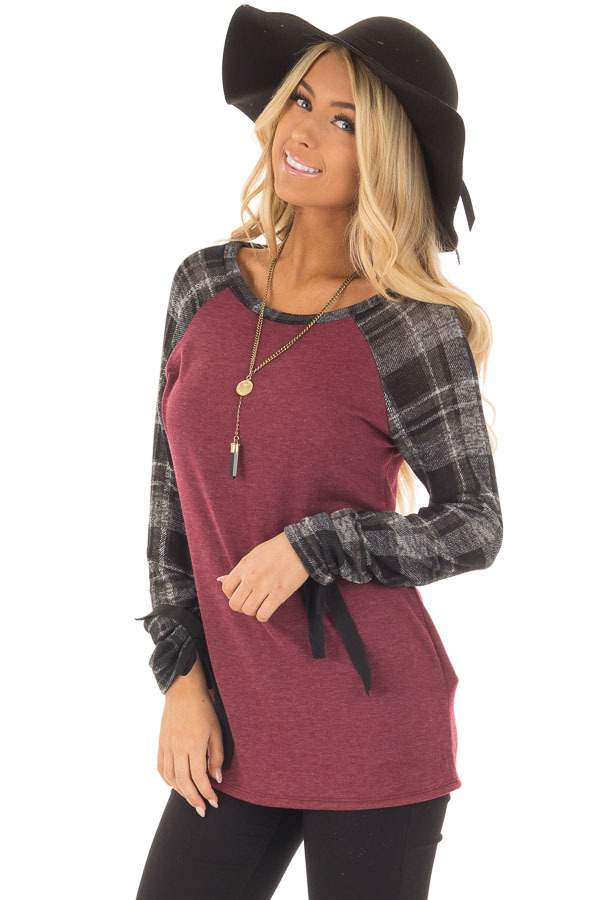 Burgundy Top with Plaid Raglan Sleeves and Tie Detail front close up