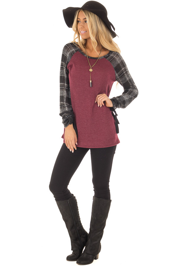 Burgundy Top with Plaid Raglan Sleeves and Tie Detail front full body