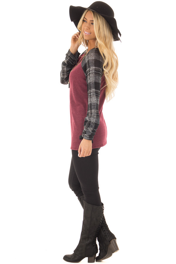 Burgundy Top with Plaid Raglan Sleeves and Tie Detail side full body