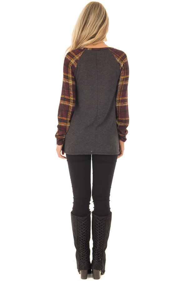 Charcoal Top with Plaid Raglan Sleeves and Tie Detail back full body