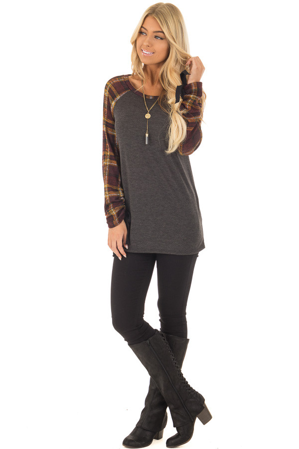 Charcoal Top with Plaid Raglan Sleeves and Tie Detail front full body