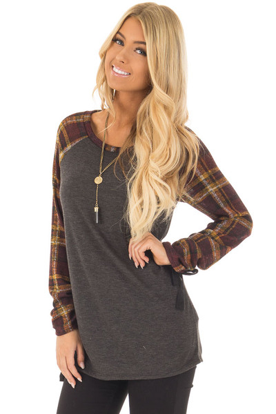 Charcoal Top with Plaid Raglan Sleeves and Tie Detail front close up