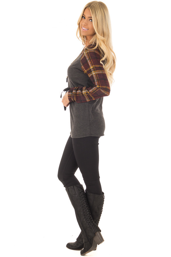 Charcoal Top with Plaid Raglan Sleeves and Tie Detail side full body