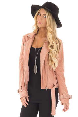 Mauve Faux Suede Moto Jacket with Buckle Detail front close up