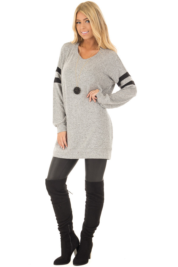 Heather Grey Long Sleeve Top with Black Varsity Stripes front full body
