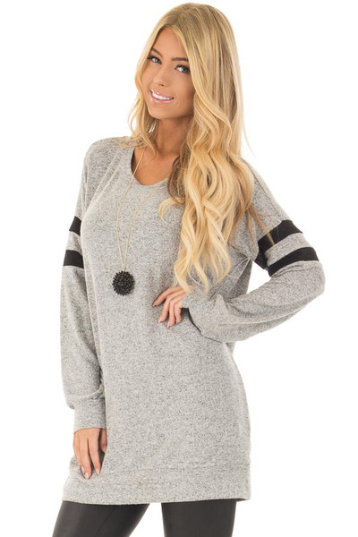 Heather Grey Long Sleeve Top with Black Varsity Stripes front close up