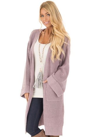 Lilac Open Long Cardigan with Cuffed Sleeves and Pockets front close up