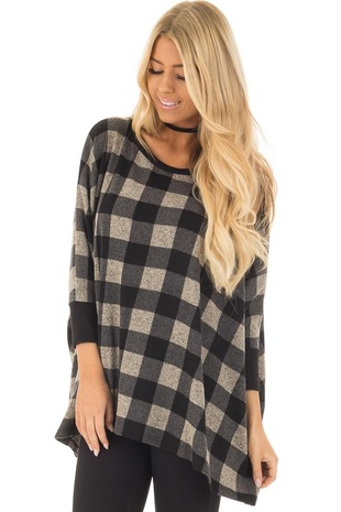 Black and Taupe Plaid Poncho with Arm Holes front close up