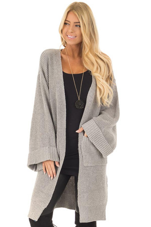 Heather Grey Long Cardigan with Cuffed Sleeves and Pockets front close up