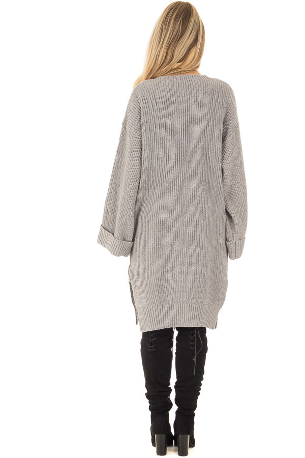 Heather Grey Long Cardigan with Cuffed Sleeves and Pockets back full body
