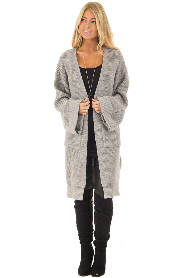 Heather Grey Long Cardigan with Cuffed Sleeves and Pockets front full body