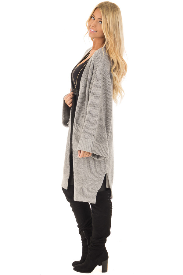 Heather Grey Long Cardigan with Cuffed Sleeves and Pockets side full body