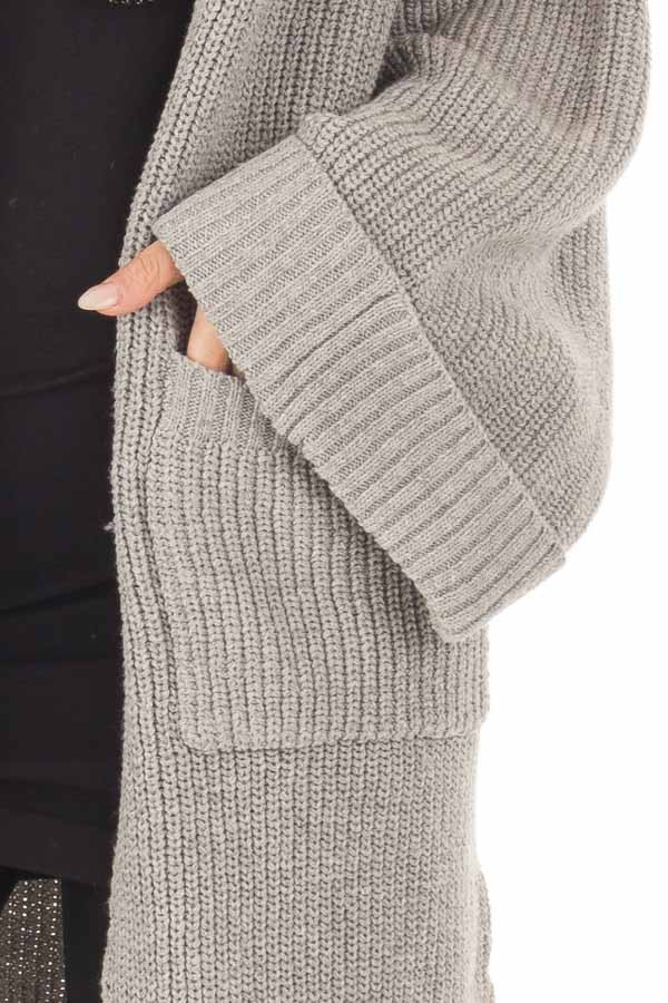 Heather Grey Long Cardigan with Cuffed Sleeves and Pockets detail