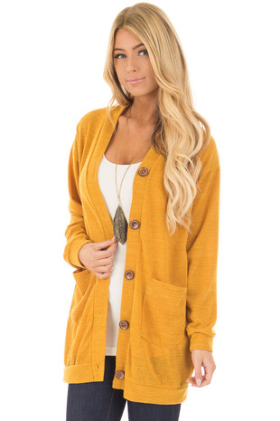 Golden Knit Button Up Cardigan with Pockets front close up