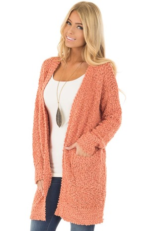 Rusty Coral Oversized Soft Cardigan with Pockets front close up