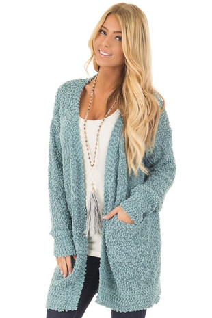 Dusty Blue Oversized Soft Cardigan with Pockets front close up