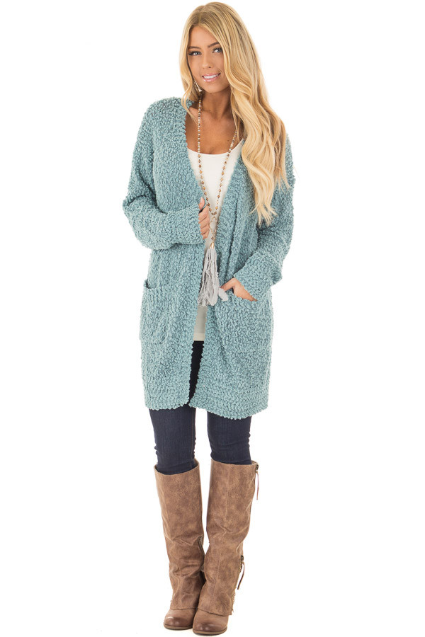 Dusty Blue Oversized Soft Cardigan with Pockets front full body