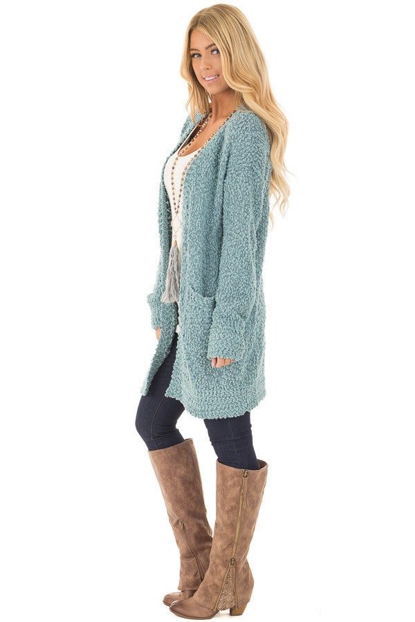 Dusty Blue Oversized Soft Cardigan with Pockets side full body