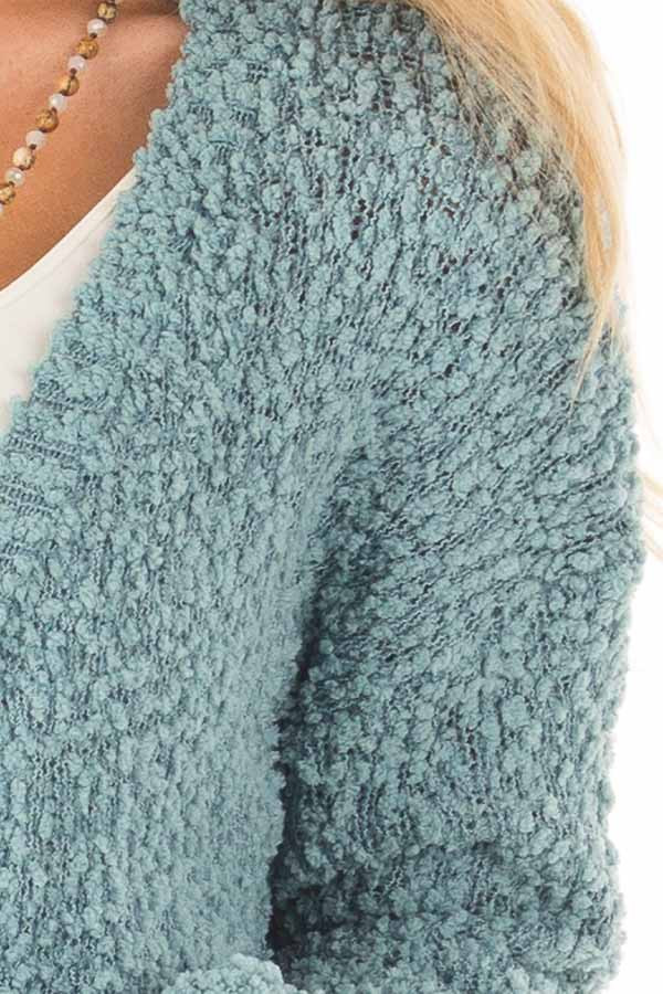 Dusty Blue Oversized Soft Cardigan with Pockets detail