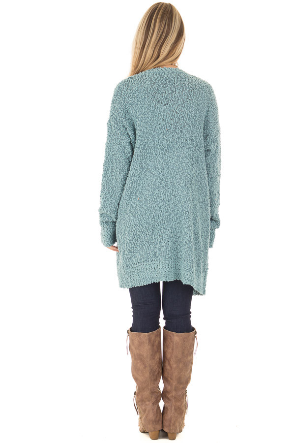 Dusty Blue Oversized Soft Cardigan with Pockets back full body