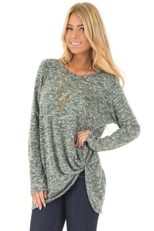 Olive Two Tone Long Sleeve Top with Twisted Side Knot front close up