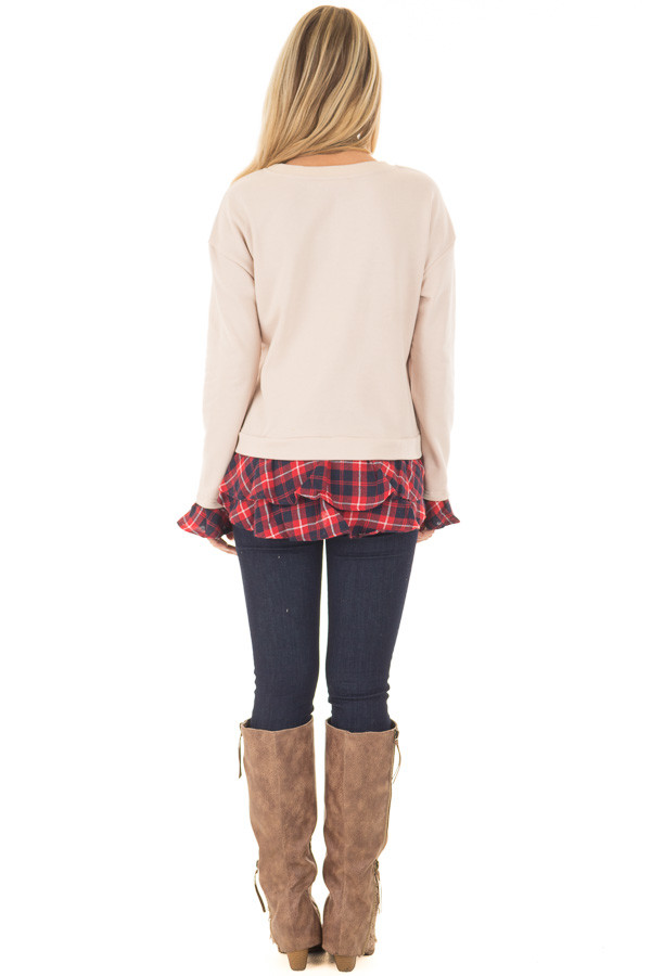 Beige Long Sleeve Top with Plaid Tiered Ruffled Back Detail back full body