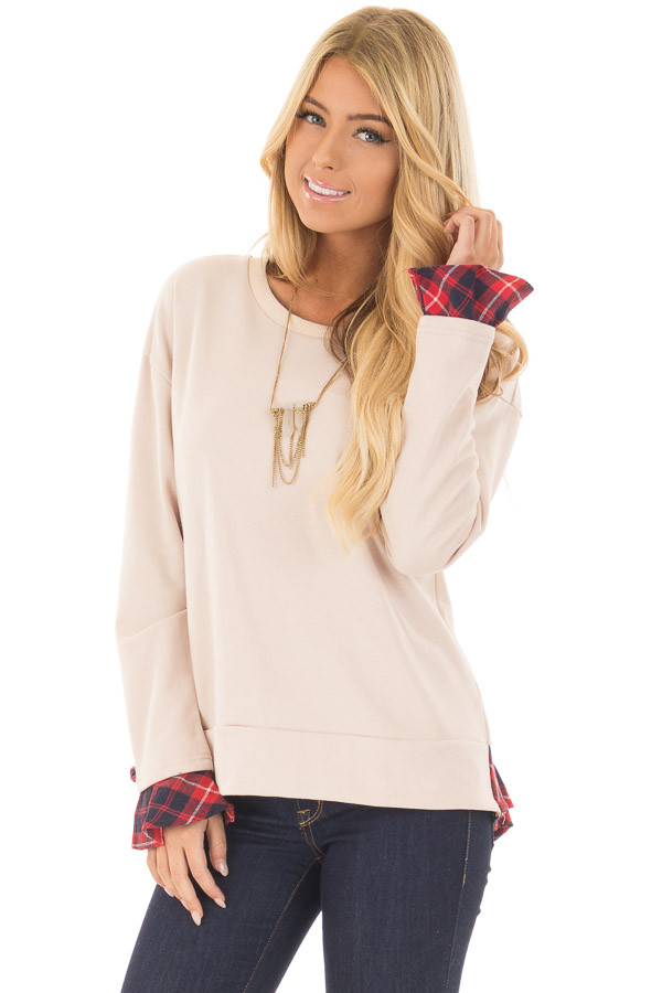 Beige Long Sleeve Top with Plaid Tiered Ruffled Back Detail front close up