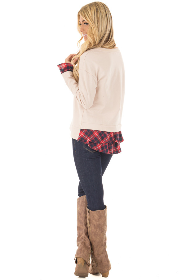 Beige Long Sleeve Top with Plaid Tiered Ruffled Back Detail side back full body
