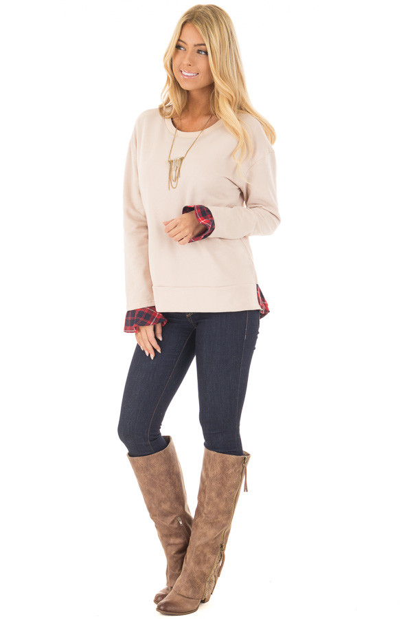 Beige Long Sleeve Top with Plaid Tiered Ruffled Back Detail front full body