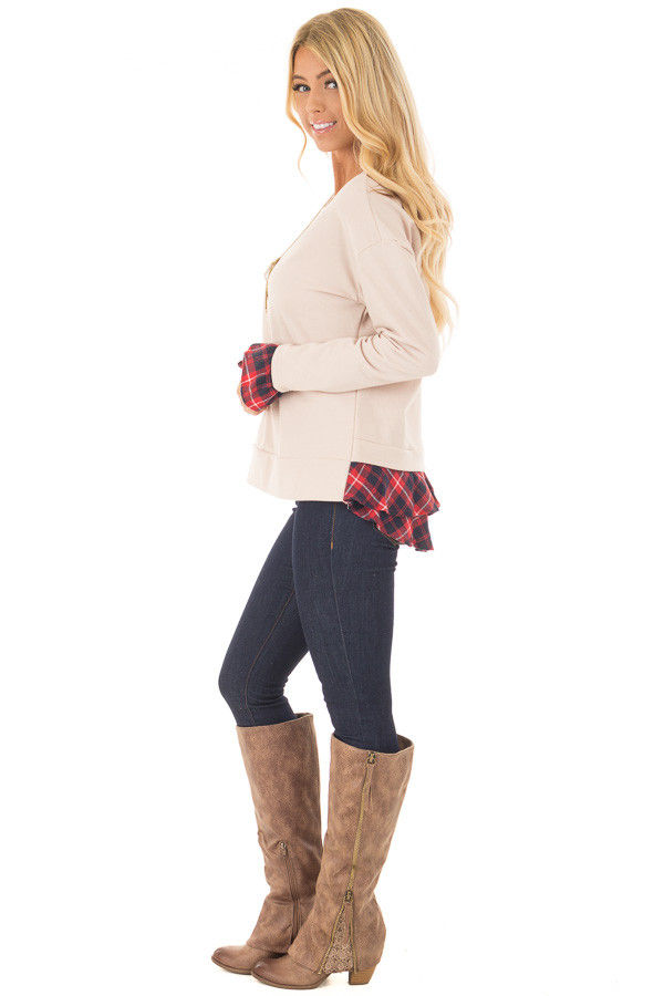 Beige Long Sleeve Top with Plaid Tiered Ruffled Back Detail side full body