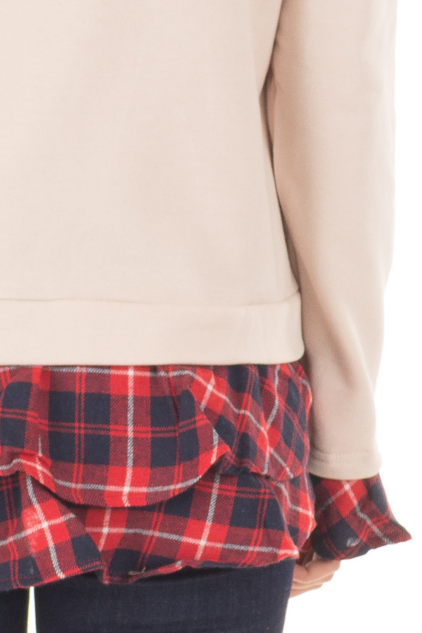 Beige Long Sleeve Top with Plaid Tiered Ruffled Back Detail detail