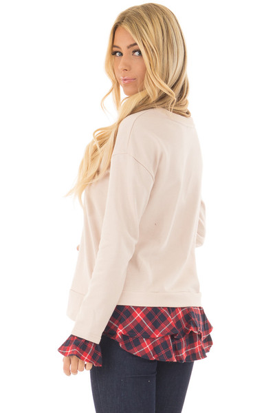 Beige Long Sleeve Top with Plaid Tiered Ruffled Back Detail side back close up