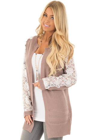 Dark Mauve Open Cardigan with Lace Sleeve Detail front close up