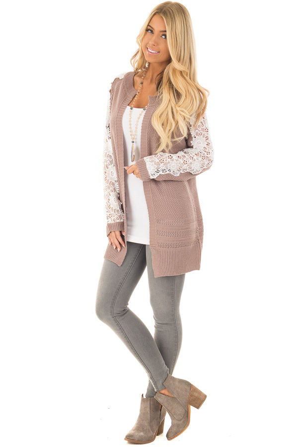 Dark Mauve Open Cardigan with Lace Sleeve Detail front full body