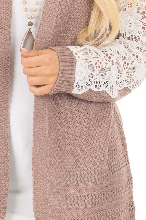 Dark Mauve Open Cardigan with Lace Sleeve Detail detail