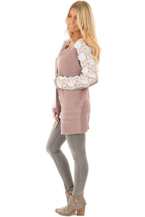 Dark Mauve Open Cardigan with Lace Sleeve Detail side full body