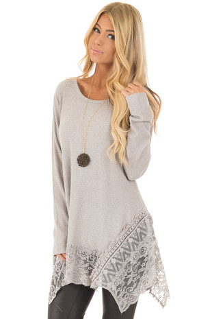 Heather Grey Long Sleeve Top with Sheer Lace Details front close up