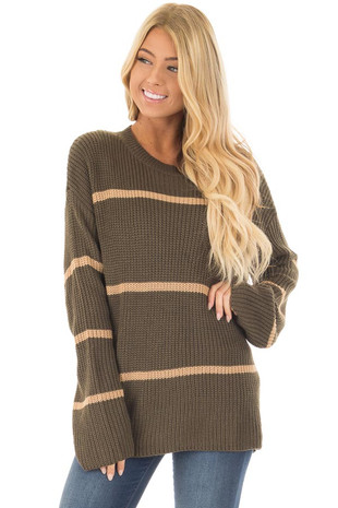 Olive Long Sleeve Striped Waffle Knit Sweater front close up