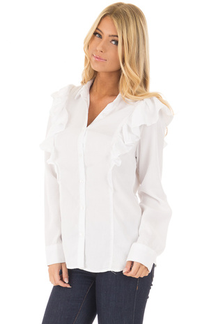 White Long Sleeve Button Up Top with Ruffle Details front close up