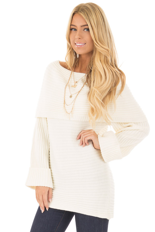 Ivory Off the Shoulder Ribbed Sweater front close up