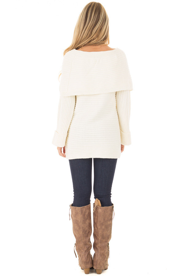 Ivory Off the Shoulder Ribbed Sweater back full body