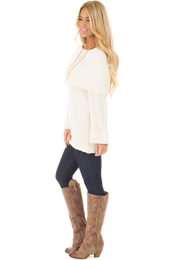 Ivory Off the Shoulder Ribbed Sweater side full body