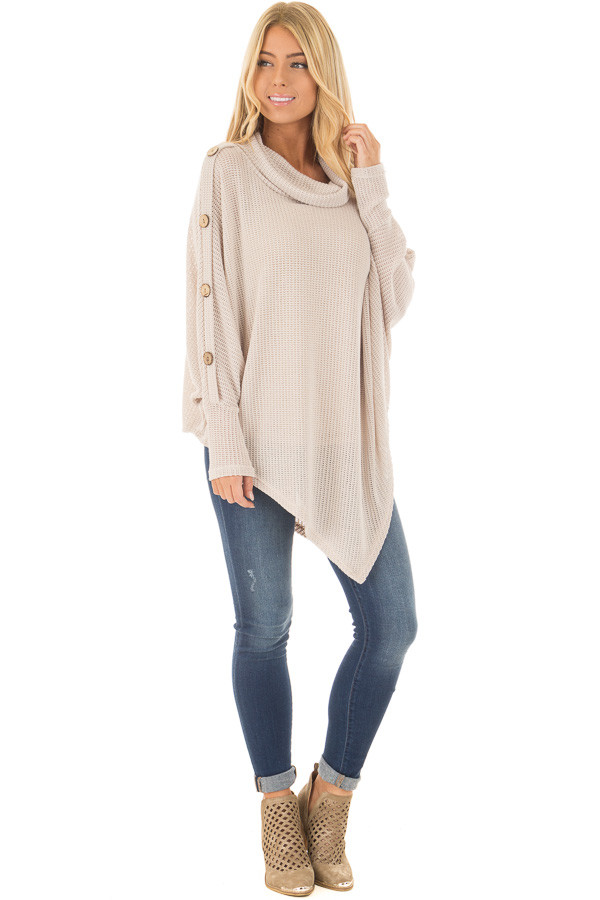 Beige Sweater Cowl Neck Poncho with Buttons Detail - Lime Lush ...