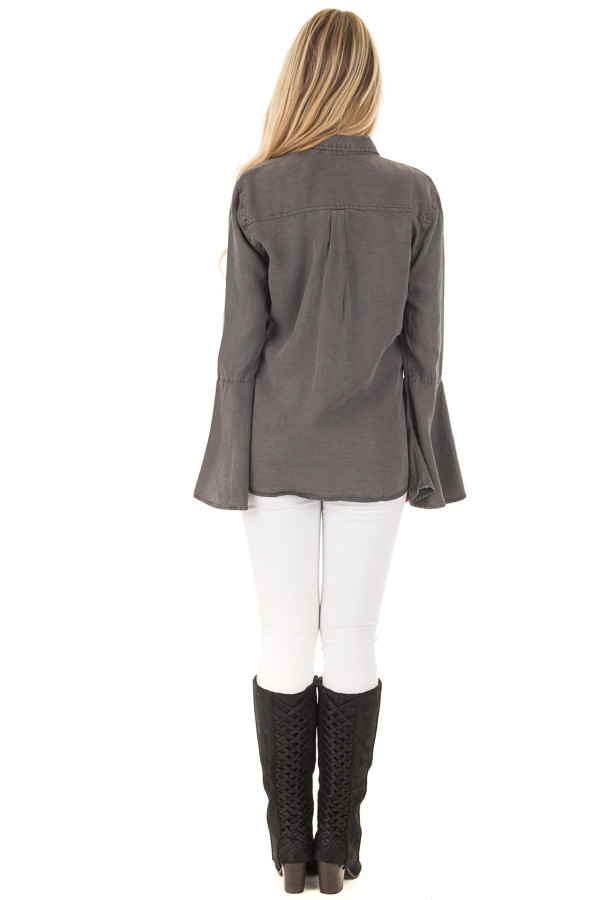 Charcoal Long Bell Sleeve Button Up Top back full body