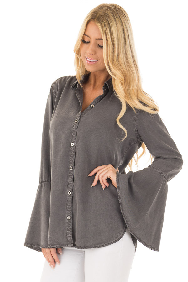 Charcoal Long Bell Sleeve Button Up Top front close up