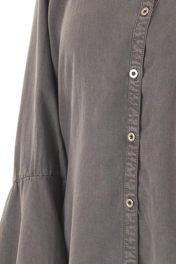 Charcoal Long Bell Sleeve Button Up Top detail